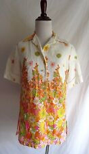 Vintage 70's Blouse Neon Crazy Daisy Flower Pop Retro Art Button Down Shirt