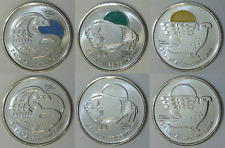 2011 Canada Regular and Coloured Orca, Bison and Falcon 25 Cents BU