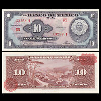 Mexico 10 Pesos Banknote, 1967, P-58i, AU-UNC, America Paper Money, Original