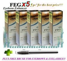 5 X FEG Eyebrow Enhancer 3ml, Rapid Growth Serum, Thicker Brows + FREE BRUSH!!!