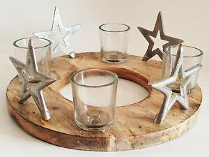 Adventskranz aus Mangoholz und Sterndekor aus Metall Adventsgesteck