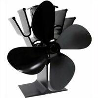 4-Blade Heat Self-Powered Wood Stove Fan Top Log Burner Fireplace Silent Quiet !