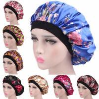 Women Soft Satin Night Sleep Hat Ladies Turban Wide Band Satin Bonnet Hair Cap
