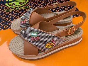 Tory Burch NIB Daisy Crystal Sandals Desert Camel Circular Knit/Leather Sz 9