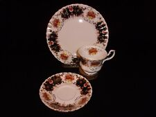 """Royal Albert Bone China 3 Pc """"Heritage"""" cup, saucer, lunch plate, Black & Gold"""