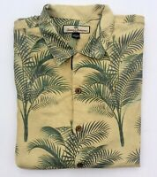 Tommy Bahama Hawaiian Yellow Green Palm Tree Print Silk Shirt Mens Large EUC