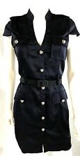 Express SZ 4 Dress Button Front Silky Stretch Military Style Dress Fully Lined