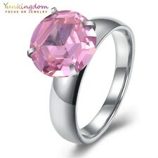 Luxurious Round Cut Cubic Zircon Titanium Steel White Gold Plated Lady Rings