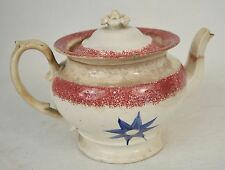 Spongeware Splatterware Red Blue Flower Teapot Lid 1830s Antique