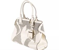 NWT TOD'S CAPE HANDBAG WHITE FLORAL PERFORATED LEATHER TOTE $2265+Tax