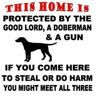 Doberman Pinscher Decal No Trespassing,Gate,Fence,10 X 10 Decal Only