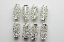 25 pcs cylindrical crystal rhienstone spacer pendant/beads silver