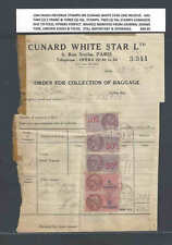 1949 FRENCH REVENUE STAMPS ON CUNARD WHITE STAR LINE INVOICE SEE INFO