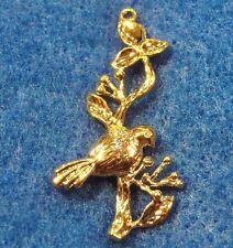 10Pcs. Gold-Plated Brass FLOWER Bird Branch Earring Drops Charms Tibetan ED13