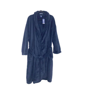 Nautica men's navy plush shawl collar robe NEW size ONE SIZE long sleeve wrap st