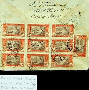 FRENCH COLONY ABIDJAN IVORY COAST 45c 10v ON TRAJET DAKAR COVER TO HOLLAND