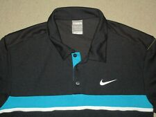 Nike Fit Dry Men'S Tennis Polo Shirt Black White Teal Large Used Polyester