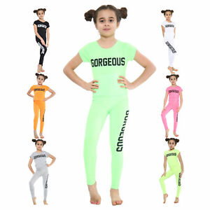 Girls Tops and Leggings Set Gorgeous Print Outfit Neon Crop T-Shirt 5 - 14 Years