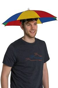 Mountain Warehouse Umbrella Rainbow Hat Compact with Head Strap in Red