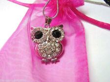 Cadena Collier Necklace lechuza Uhu Owl, plateado rhodiniert, ojos grandes pedrería