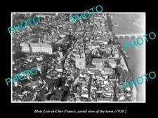 OLD POSTCARD SIZE PHOTO BLOIS LOIR ET CHER FRANCE AERIAL VIEW OF TOWN c1920 3