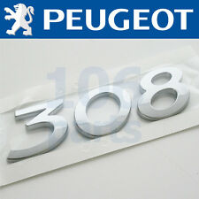 "PEUGEOT 308 REAR SILVER ""308"" BADGE 110x30mm NEW & GENUINE O.E PART!"