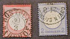 1872   Germany 1g (Small Shield) & (2g Large Shield) stamps   -   Used