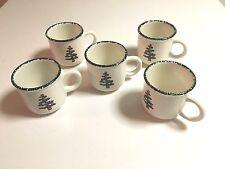 FURIO CHRISTMAS TREE COFFEE MUGS SPONGE PAINTED CERAMIC ITALY - 5 CUPS