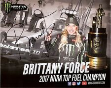 2018 BRITTANY FORCE signed MONSTER ENERGY NHRA HERO PHOTO CARD DRAG RACING CHEVY