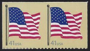 "4191 - Huge Misperf Diecut Shift Error / EFO Pair 40mm/5mm ""Flag"" Mint NH"