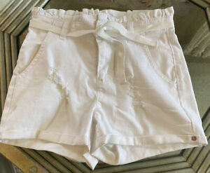 Girl's Justice Belted Midi Shorts Size 12 White Destructed Jean Shorts
