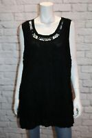 AUTOGRAPH Brand Black Macrame Lace Sleeveless Long Tank Top Size 18 BNWT #TQ118