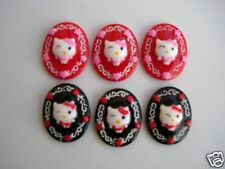 20 Oval Kitty Cat Resin Flatback Button/bow/Craft Embellishment/Cabochon B15
