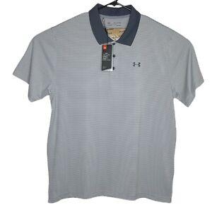 Under Armour Mens Polo Golf Shirt XXL Gray Striped HeatGear Short Sleeve Loose