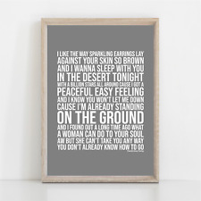 More details for eagles peaceful easy feeling song lyrics poster print wall art