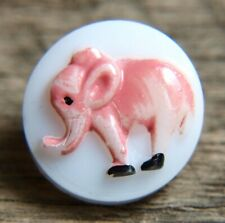 """vintage GLASS KIDDIE BUTTON EMBOSSED & PAINTED PINK ELEPHANT  9/16"""""""
