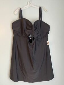 Old Navy Womens One Piece Swimsuit Size 4X Plus Black Dress Front NWT