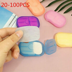 US 100 pcs Disposable Boxed Paper Soap Travel Portable Hand Washing Box Scented~