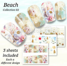 Nail Wraps Water Decals, Sea Shells, Beach Nails, Summer Holiday Manicure BN160