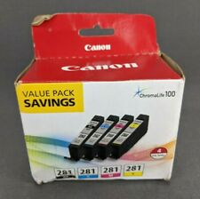 Genuine Canon CLI-281 Black Cyan Magenta & Yellow 4 Ink Cartridges Value Pack
