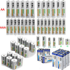 EBL Lot AA AAA C D Size 9V Battery 6F22 Ni-MH/Li-ion Rechargeable Batteries New