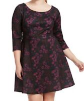 Alexia Admor Scuba Knit Fit And Flare Dress In Burgundy Ground Floral Size XL
