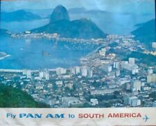 PAN AM AIRWAYS SOUTH AMERICA BRAZIL Vintage 1965 Travel Airlines poster 34.5x44