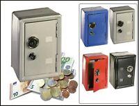 Spardose Metall  Bank Safe Tresor Kombinationsschloss Sparschwein Grau