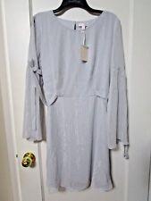Women's LC Lauren Conrad Gray Metallic Tie Sleeve Dress Size Large -