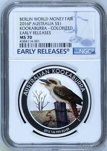 2016 P Berlin Show Australia COLORED Kookaburra Silver NGC MS 70 1 oz $1 Coin ER