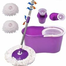 SPINNING MOP BUCKET WITH TWO SPIN MOP HEADS HOME CLEANER CLEANING 360 DEGREE
