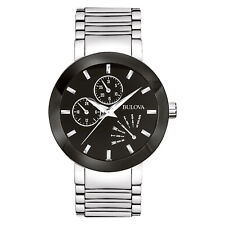 Bulova Men's Quartz Black Multi Dial Silver-Tone Bracelet 40mm Watch 96C105