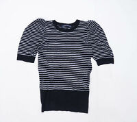 French Connection Womens Size S Striped Cotton Blend Black Puff Sleeve Top (Regu
