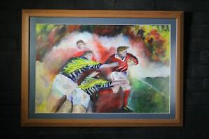 Rugby union or league original oil painting sports action man cave large size